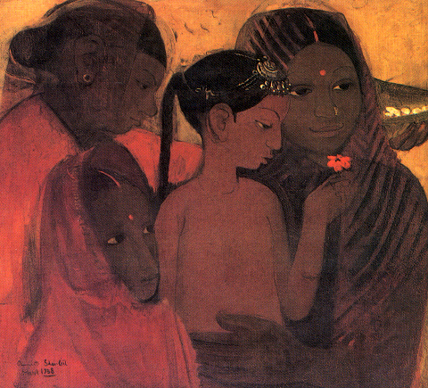 tribal women amrit sher gil paintings