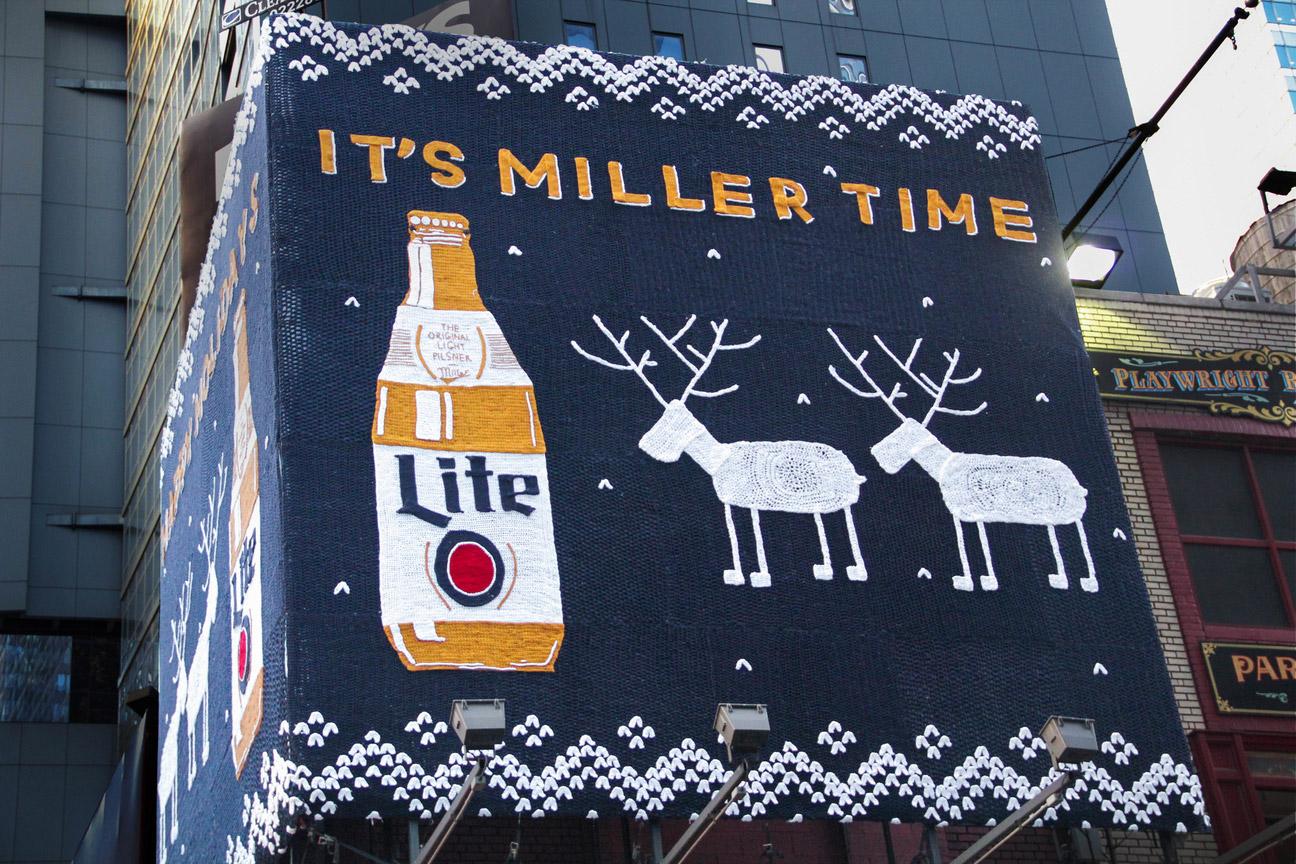 Miller Lite Beer yarn bomb