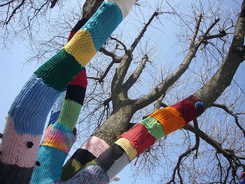 yarn bombing tree